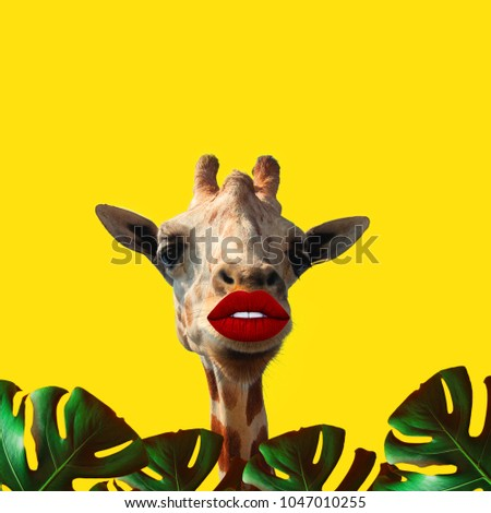 Contemporary art collage, Giraffe with big lips