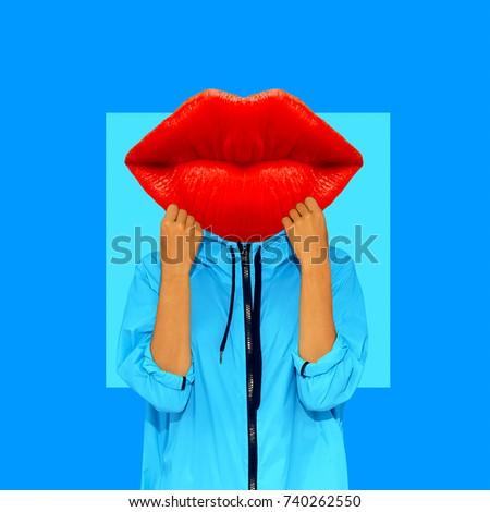 Contemporary art collage. Girl Red Lips. Minimal art. Fun Art