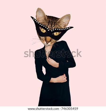 Contemporary art collage. Masquerade Cat. Minimal design Flat lay Store