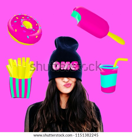 Contemporary art collage. Minimal concept.  Girls and diet concept. Fast food lover