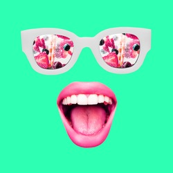 Contemporary art collage, modern design. Summer mood. Sunglasses and female mouthes and lips on blue. Copy space for ad, text. Conceptual bright artcollage. Party time, holidays, fun concept