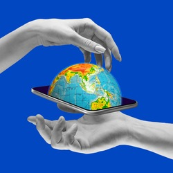 Contemporary art collage. Online travelling. World in your smartphone. Globe sticking out of phone screen over dark blue background. Concept of online communication, information transmission.
