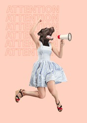 Contemporary art collage or portrait of surprised dog headed woman. Modern style pop zine culture concept. Woman screaming with a megaphone. Business processes, message, speaker, communication