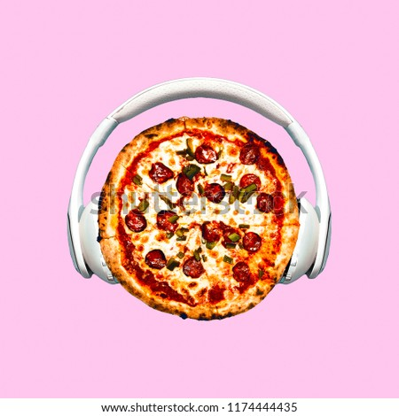 Contemporary art collage. Pizza Dj. Fast food minimal project
