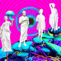 Contemporary art collage. Psychedelic, Hallucination,Mushrooms greek party