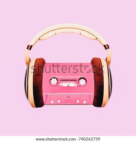 Contemporary art collage. Retro Lover. Audio cassette and headphones Minimal fashion   Flat lay art