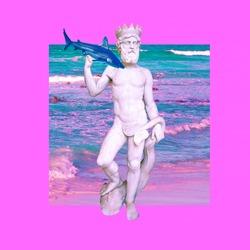 Contemporary art collage. Sculpture renaissance Aqua man. Fun art