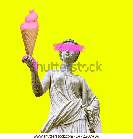Photo of  Contemporary art collage. Sculpture renaissance Woman and big Ice cream