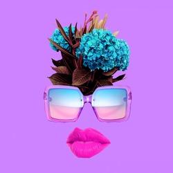 Contemporary art collage.  Stylish sunglasses accessories concept.