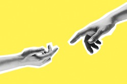 Contemporary art collage. Two hands male and female reaching towards each other.