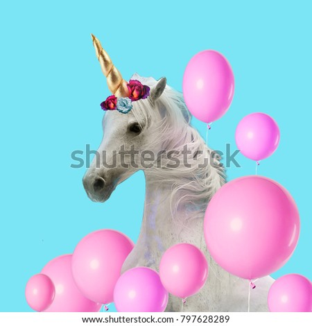 Contemporary art collage. Unicorn.