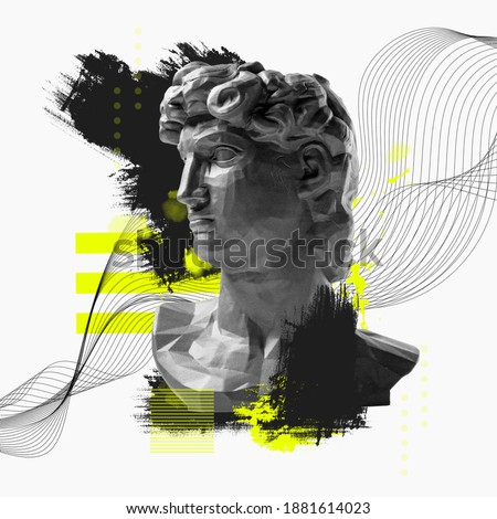 Contemporary art collage with antique statue bust in a surreal style. Foto stock ©