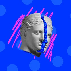 Contemporary art collage with antique statue head in a surreal style.