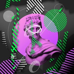 Contemporary art collage with plaster head statue isolated on bright multicolored geometric background. Copy space for ad, text. Modern design. Line art. Surrealism. Modern unusual art. Neon light