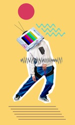 Contemporary art collage. Young man, hippster dancer headed of tv set dancing isolated on yellow geometric background. Line art. Copy space for text, design, ad. Modern creative artwork.