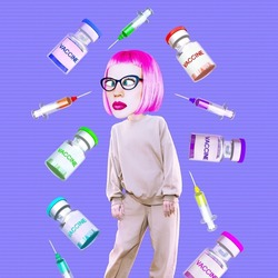 Contemporary art concept collage. Pandemic reality. Girl girl trying to choose a vaccine. Tired and confused