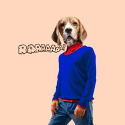 Contemporary artwork, conceptual collage. Man headed by dog head. Trendy colors.