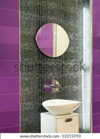 Modern Bathroom Mirror on Contemporary Bathroom Design With Broken Mirror Wall Stock Photo