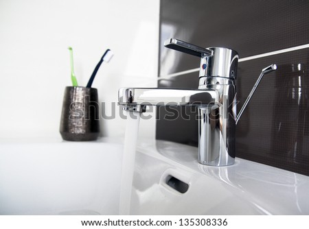 contemporary bathroom sink detail
