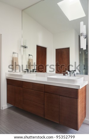 Contemporary Bathroom with Dual Sinks, Mirror and Towel Rack