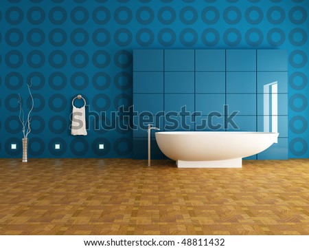 contemporary bathroom with fashion bathtub in front a blue panel - rendering