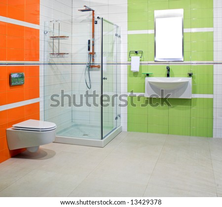 Contemporary bathroom with green and orange ceramics