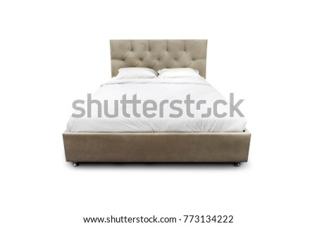 contemporary bed isolated on white background