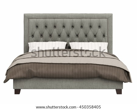 contemporary bed isolated on white background , front view #450358405