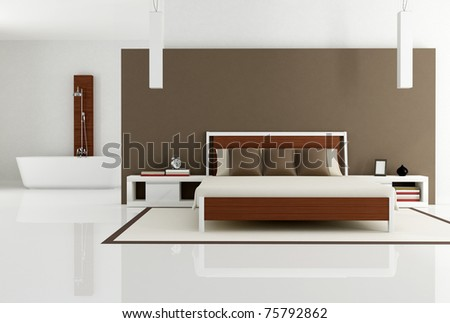 contemporary bedroom with bathtub - rendering