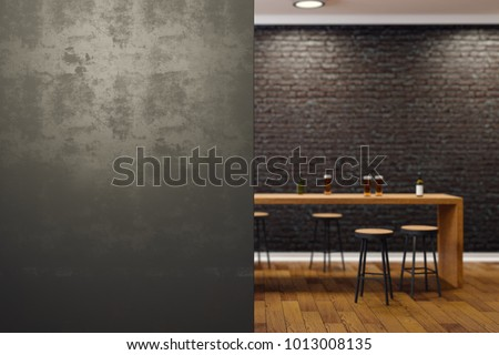 Contemporary black brick pub or bar interior with copy space on wall. Mock up, 3D Rendering