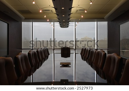 Contemporary Boardroom empty and ready colleagues