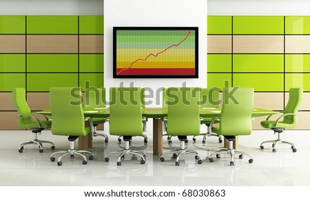 Contemporary bright green meeting room - rendering