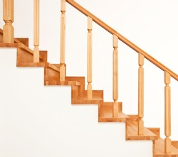 Contemporary brown wooden stairs in the house