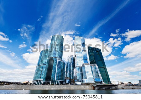 Contemporary business centre on the sky background