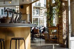 Contemporary cafe interior in Brussels, Belgium