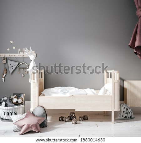 Contemporary children room, wall frame mockup, 3d render Foto stock ©