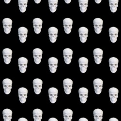 Contemporary collage. Seamless pattern of white skulls on a black background.
