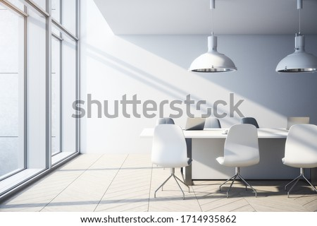 Contemporary concrete office interior with city view, daylight, furniture and equipment. 3D Rendering