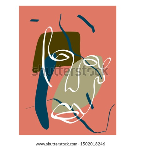 Contemporary continuous one line drawing. Decor Printable, Abstract Prints, Modern Wall Art. Portrait in modern abstract graphic style. Textures with simple colorful pastel shapes.