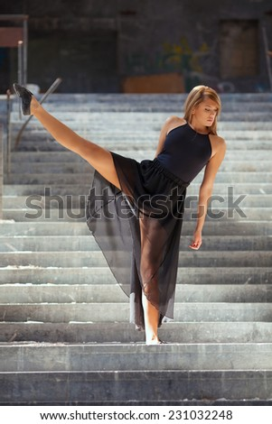 Contemporary dance performance on urban staircase