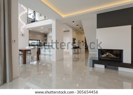 Contemporary designed interior in big expensive house #305654456