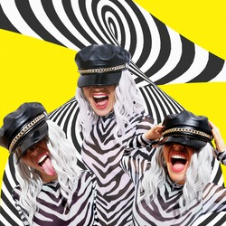 Contemporary digital collage art. Emotional party Girl back in 90s Pop art zine fashion culture. Trendy Animal zebra pattern clothing and background