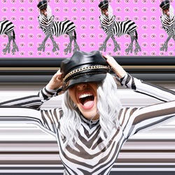 Contemporary digital collage poster art. Emotional zebra Girl in animal print space. Back in 90s. Pop art, zine, clubbing, party, music, fashion concept