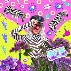 Contemporary digital funky minimal collage poster. Happy emotional party zebra Lady. Trendy animal print. Beach mood. Back in 90s. Pop art zine fashion, music, clubbing culture.