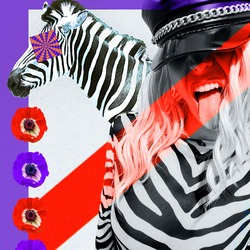 Contemporary digital funky minimal collage poster. Stylish Party zebra Lady. Trendy animal print. Back in 90s. Pop art zine fashion, music, clubbing culture.