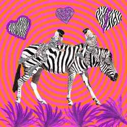 Contemporary digital funky minimal collage poster. Zebra lover Girl. Back in 90s. Pop art zine fashion culture.
