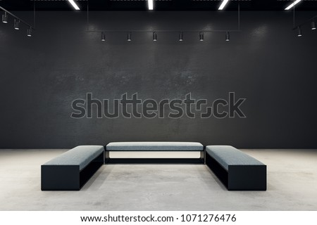 Contemporary exhibition hall with copy space on wall and bench. Gallery, art, exhibit and museum concept. Mock up, 3D Rendering