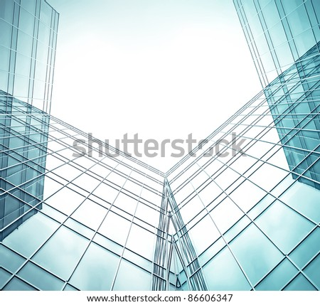 contemporary facade of glass building in the morning