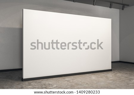 Contemporary gallery interior with white poster and concrete floor. Museum and exhibition concept. Mock up, 3D Rendering
