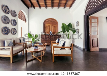 Contemporary hotel hall interior design with portugues and asian style details  #1241667367